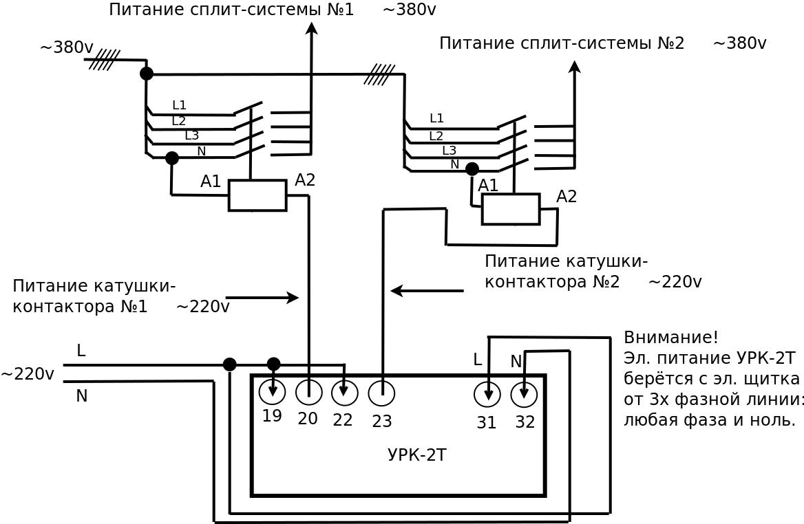 Подключение УРК-2Т к полупромышленным сплит-системам 380V 3 фазы. ( нажмите для увеличения)